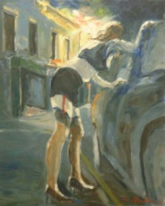 Painting of street worker