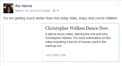 photo of Facebook post Christopher Walken dancing