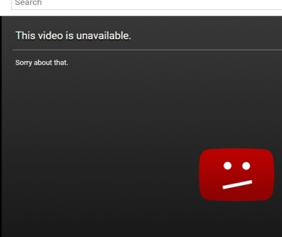 screen capture of unavaiable video apology on youtube