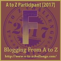 A to Z Challenge - F logo