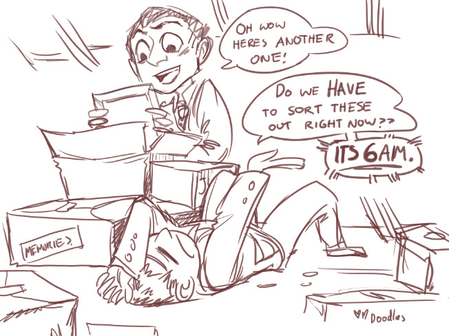 Sketch by Kowabungadoodles - tumblr. Greg and Mycroft in attic sorting through boxes of memories