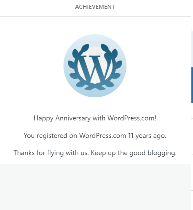 11th Anniversary with WordPress kudos