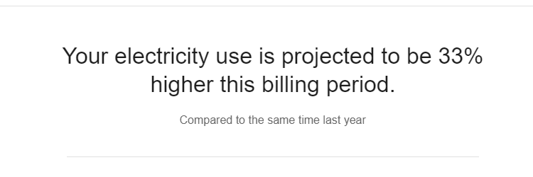 screen capture of utility bill that reads: Your electricity us is projected to be 33% higher this billing period. Compared to same time last year