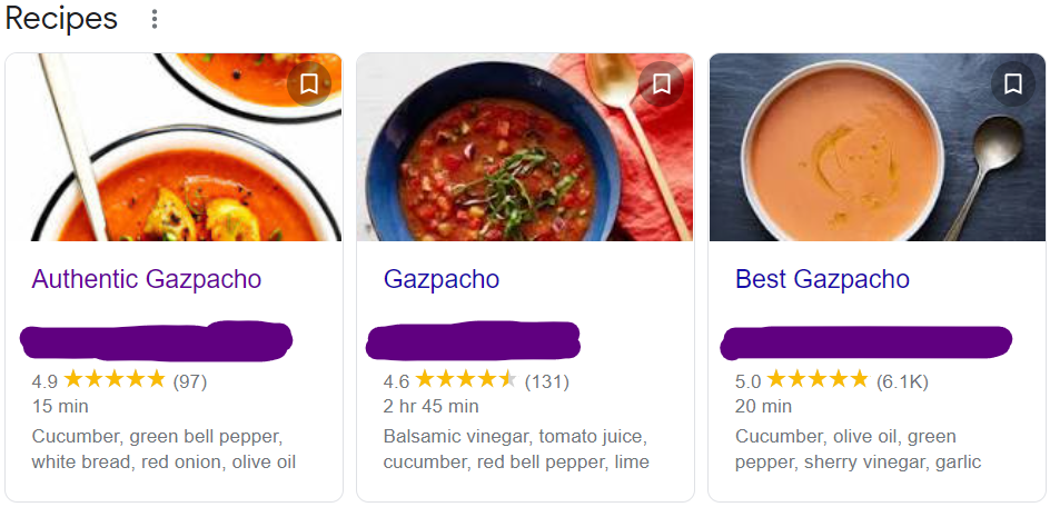 Screen capture of three gazpacho recipe options