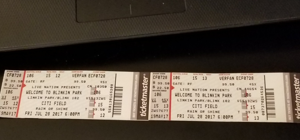 Linkin Park 2017 ticket stub